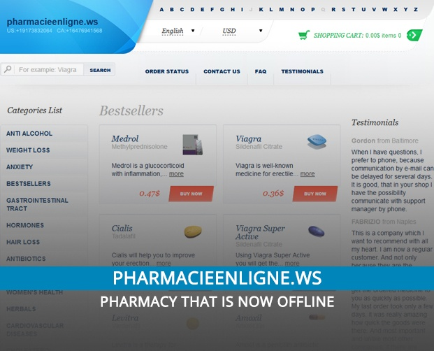 Pharmacieenligne.ws Review: Pharmacy that is Now Offline