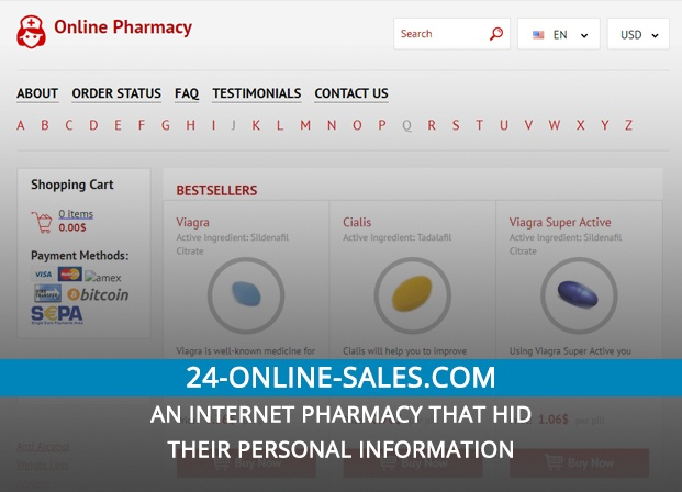 24-online-sales.com Review – An Internet Pharmacy That Hid Their Personal Information
