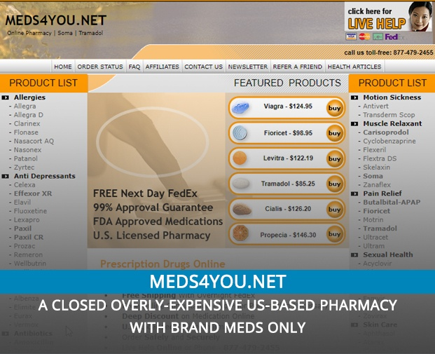 Meds4you.net Review – A Closed Overly-Expensive US-Based Pharmacy with Brand Meds Only