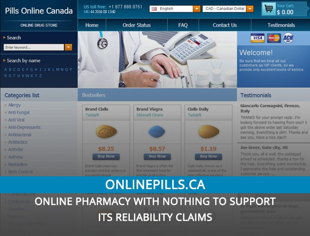 Onlinepills.ca Review – Online Pharmacy with Nothing to Support Its Reliability Claims