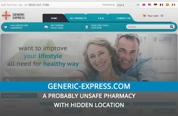 Generic-express.com Review – A Probably Unsafe Pharmacy with Hidden Location
