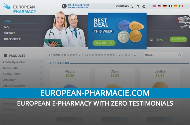 European-pharmacie.com Review – European e-Pharmacy with Zero Testimonials