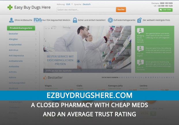 Ezbuydrugshere.com Review – A Closed Pharmacy with Cheap Meds and an Average Trust Rating