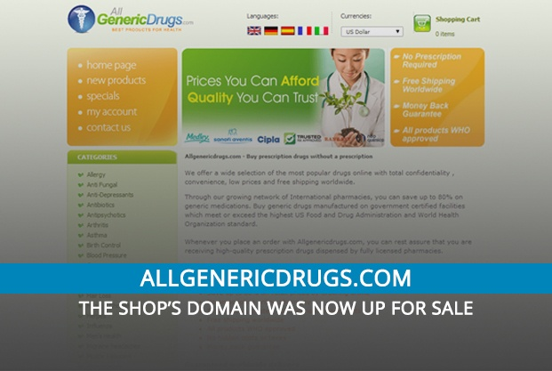 Allgenericdrugs.com Review– The Shop's Domain Was Now up for Sale