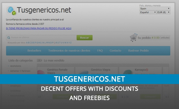 Tusgenericos.net Review – Decent Offers with Discounts and Freebies