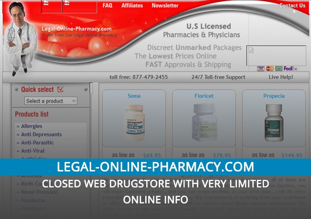 Legal-online-pharmacy.com – Closed Web Drugstore with Very Limited Online Info