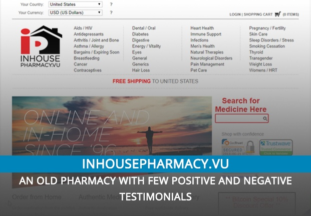 Inhousepharmacy.vu Review – An Old Pharmacy with Few Positive and Negative Testimonials